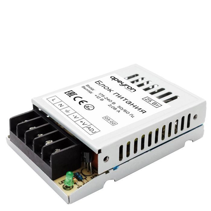 Блок питания Apeyron electrics 12В, 25Вт, IP20, 2А, металл, 78x48x20 мм
