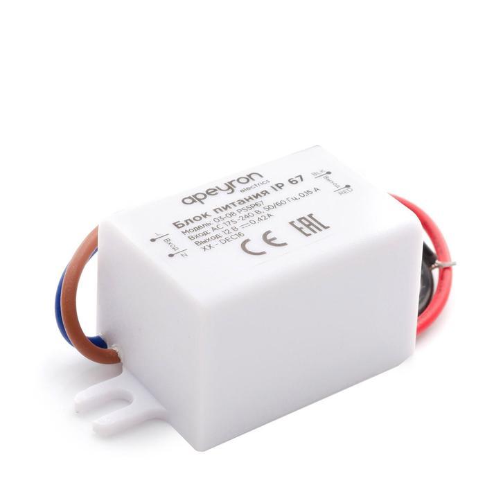 Блок питания Apeyron electrics 12В, 5Вт, IP67, 0.42А, пластик, 55x26.5x23 мм