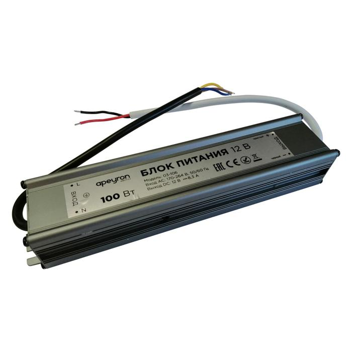 Блок питания Apeyron electrics 12В, 100Вт, импульсный, IP67, 170-264В, 8.33А, 205x46x35 мм