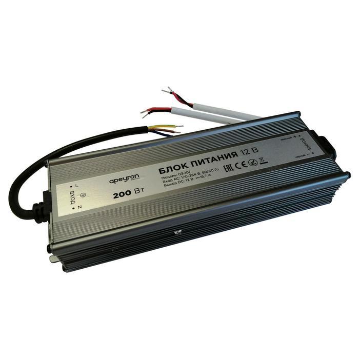Блок питания Apeyron electrics 12В, 200Вт, импульсный, IP67, 170-264В, 16.7А, 215x68x40 мм