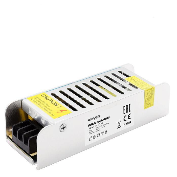 Блок питания Apeyron electrics 12В, 40Вт, IP20, 3.2А, 120x40x32 мм