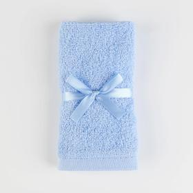 Махровое полотенце, размер 30х30 см, цвет голубой