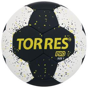 Мяч гандбольный TORRES PRO, размер 1, ПУ, гибридная сшивка, цвет чёрный/белый/жёлтый Ош