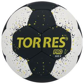 Мяч гандбольный TORRES PRO, размер 2, ПУ, гибридная сшивка, цвет чёрный/белый/жёлтый Ош
