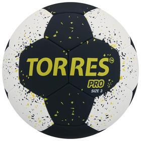Мяч гандбольный TORRES PRO, размер 3, ПУ, гибридная сшивка, цвет чёрный/белый/жёлтый Ош