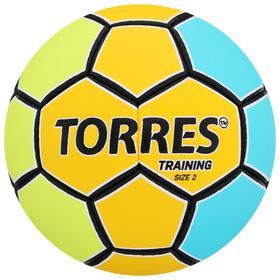 Мяч гандбольный TORRES Training, размер 2, ПУ, ручная сшивка, цвет жёлтый/голубой Ош