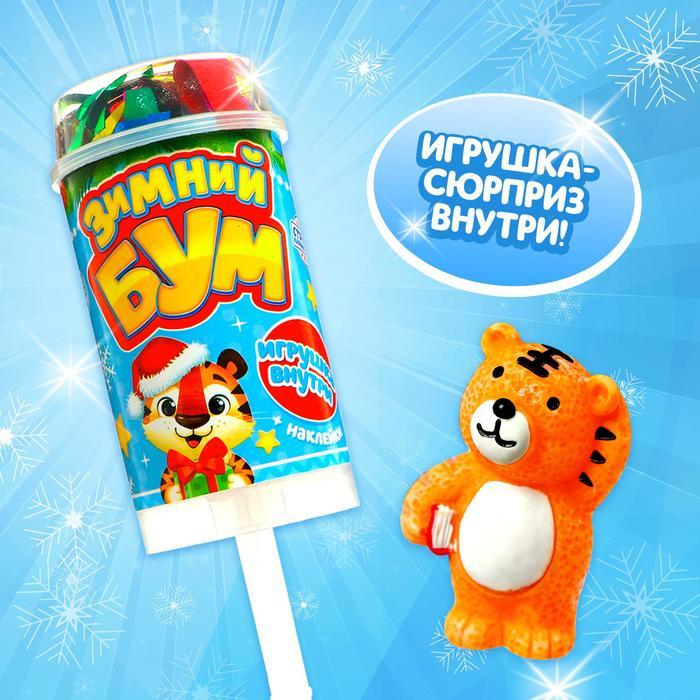 Хлопушка на палочке Зимний бум, тигр 2, с наклейками