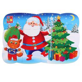 Пазл на магните «Дед Мороз и котик», 12 элементов