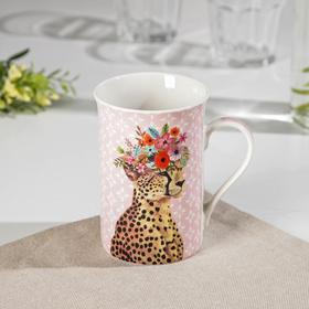 Кружка Доляна «Леопард в цветах», 300 мл