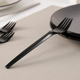 Вилка одноразовая Доляна, 14 см, цвет чёрный, флуоресцентный Ош