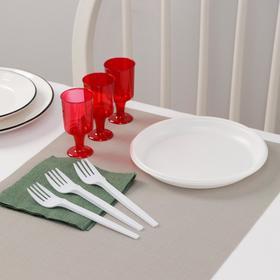Набор одноразовой посуды Доляна «Давай!», 3 персоны, тарелки десертные, рюмки 100 мл, вилки, салфетки Ош