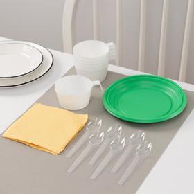 Набор одноразовой посуды Доляна «Десертный», 6 персон, тарелки десертные, чашки 140 мл, ложки чайные, салфетки Ош