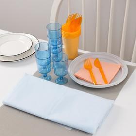 Набор одноразовой посуды Доляна «На природу», 6 персон, скатерть, тарелки, стаканы 200 мл, рюмки 100 мл, вилки, ножи, салфетки Ош