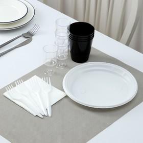 Набор одноразовой посуды премиум Доляна «Фуршет», 4 персоны, тарелки, вилки, стаканы 200 мл, рюмки 100 мл, салфетки Ош