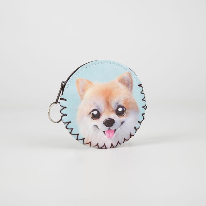 Монетница-брелок, отдел на молнии, цвет голубой, Собака