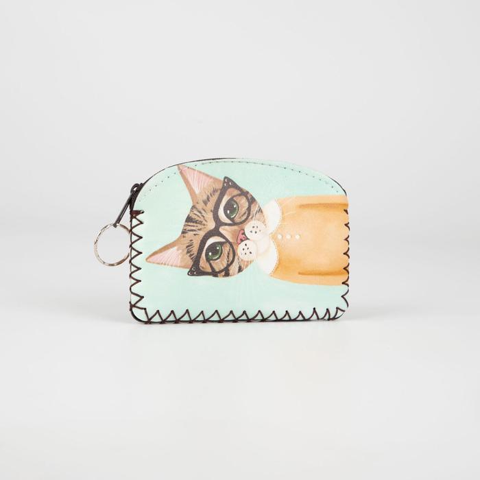 Монетница-брелок, отдел на молнии, цвет зелёный, Кот в очках