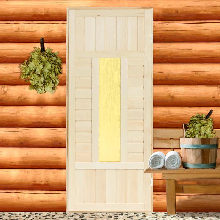 Дверь «Баня» со стеклом 180х70 см