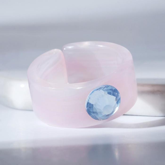 Кольцо из акрила Драгоценность, цвет розово-голубой, размер 17-17,5