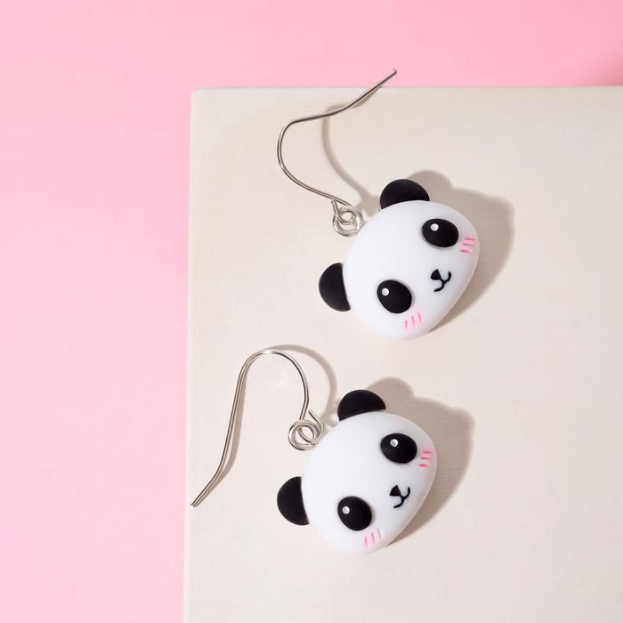 Серьги детские Выбражулька панды, цвет чёрно-белый в серебре