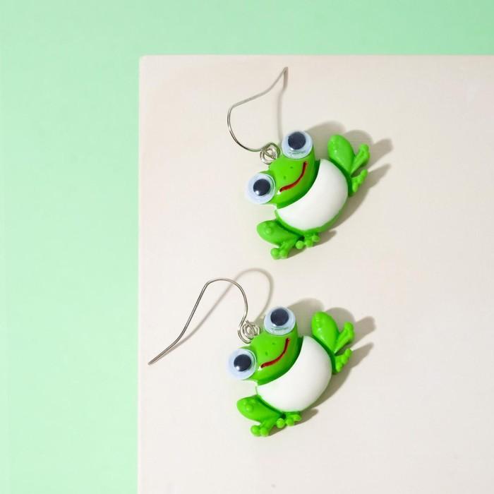 Серьги детские Выбражулька лягушки, цет зелёный в серебре