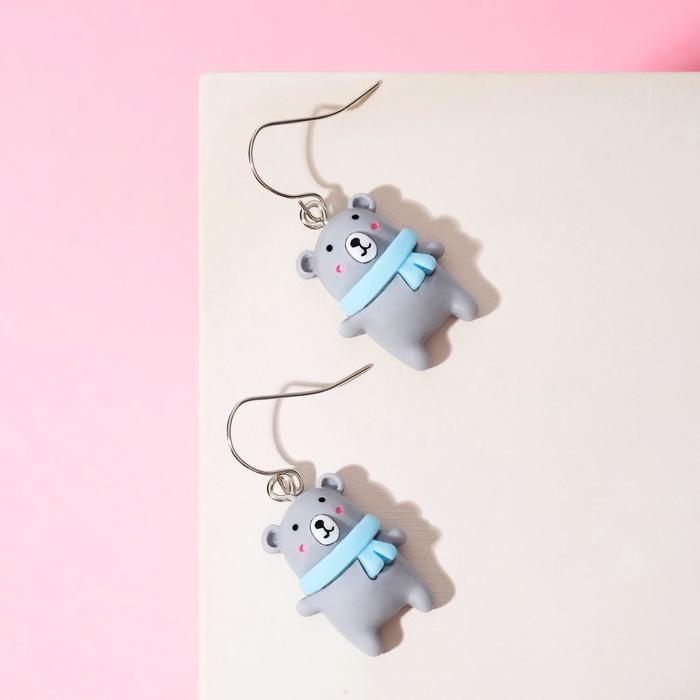 Серьги детские Выбражулька мишки, цвет серо-голубой в серебре