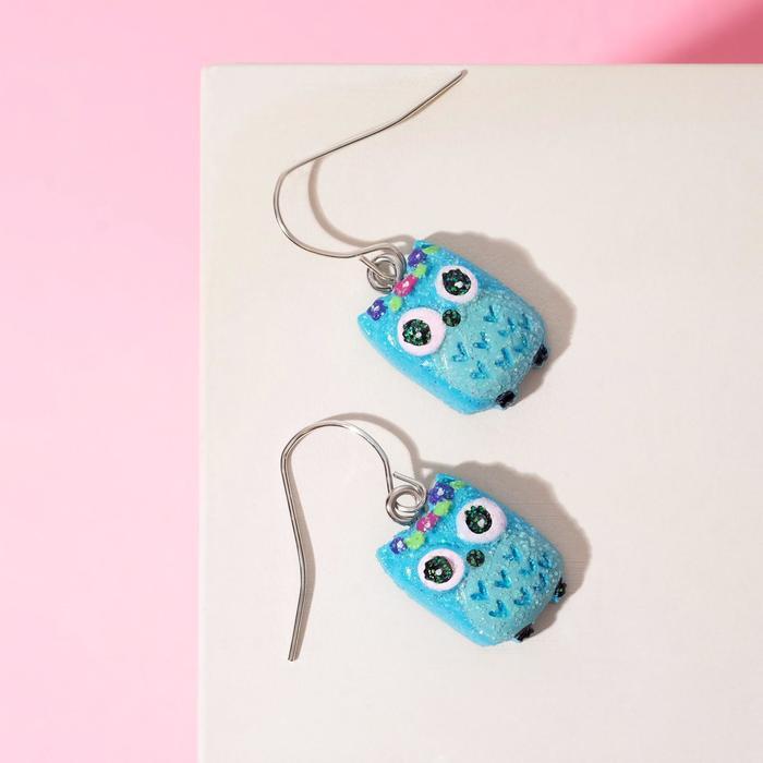 Серьги детские Выбражулька совы, цвет голубой в серебре