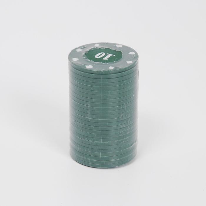 Фишки с номиналом 10, однотонные, зеленые, в наборе 25 шт.