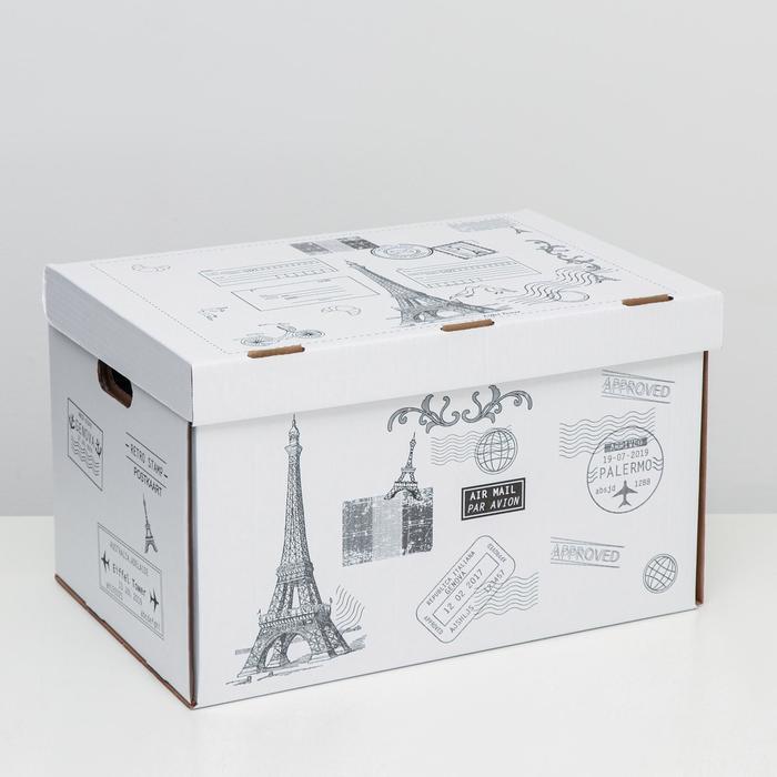 """Коробка для хранения """"Франция"""", белая, 48 х 32,5 х 29,5 см,"""