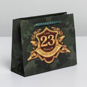 Пакет ламинированный горизонтальный «С 23 февраля», S 15 × 12 × 5.5 см