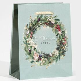 Пакет ламинированный вертикальный «Новогодний венок», S 12 × 15 × 5,5 см