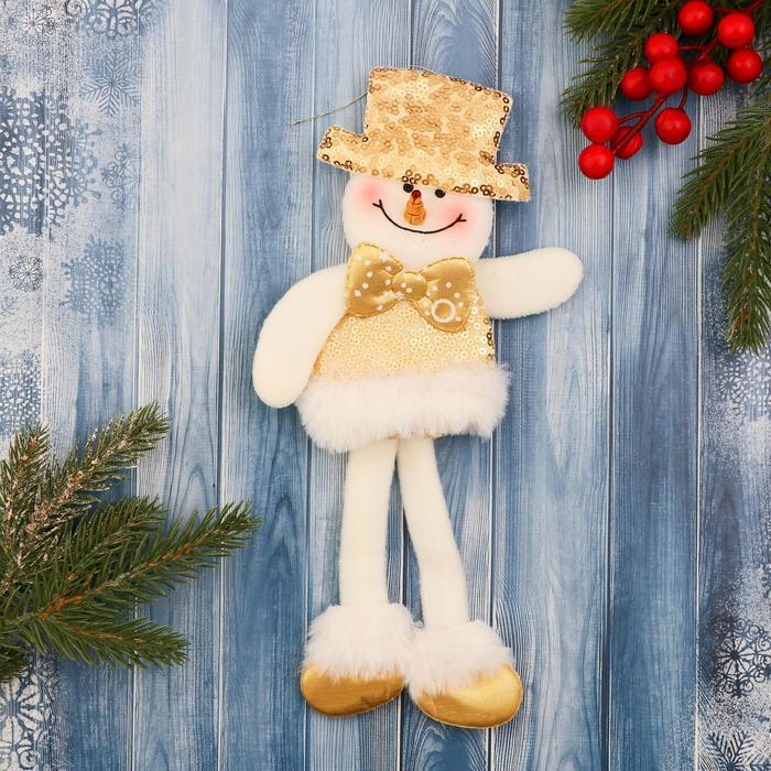 Мягкая игрушка Снеговик в блестящем костюме, с бантиком 9,5х30 см, бело-золотой