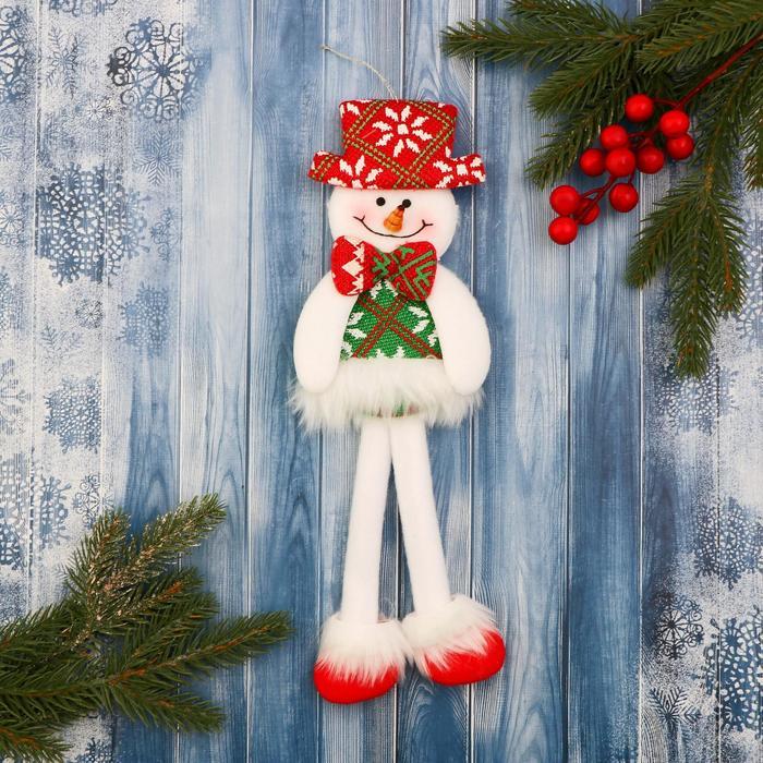 Мягкая игрушка Снеговик в костюме с орнаментом, в шляпке 9,5х30 см