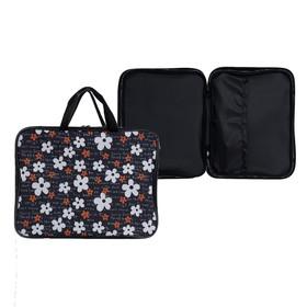 Папка с ручками текстиль А4 20 мм, 340 х 250 мм, с внутренним карманом, «Цветы на черном фоне» Ош