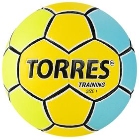 Мяч гандбольный TORRES Training, арт.H32151, ПУ, 4 подкладочных слоя, ручная сшивка, размер 1, цвет жёлтый/голубой Ош