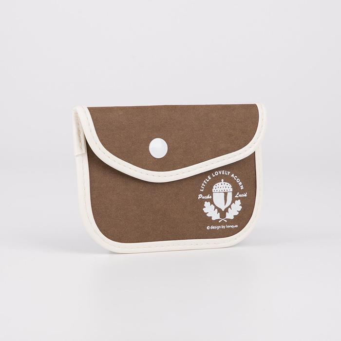 Монетница, отдел на кнопке, цвет коричневый, Лес