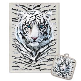 купить Кухонный набор Снежный тигр полотенце 45х60прихватка 18х18 лен 50, хл 50, 160гм2