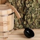 Ковш для бани 0,2л, оксидированная сталь, черный, с деревянной ручкой