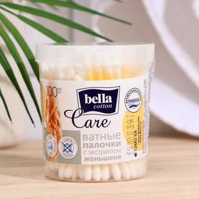 """Ватные палочки """"bella cotton care""""по 100 шт. женьшень круглая коробочка"""
