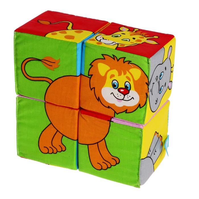 """Набор развивающих мягких кубиков """"Собери картинку. Животные 2"""""""