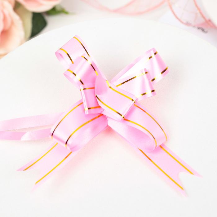 Бант-бабочка 1,8 Золотые полосы, цвет розовый