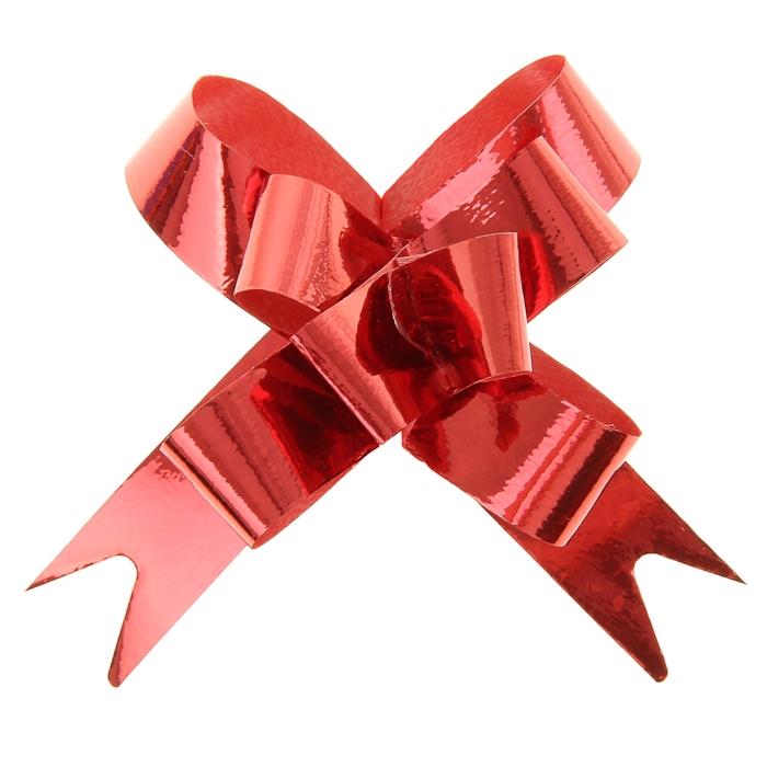 Бант-бабочка 1,2 голография, цвет красный