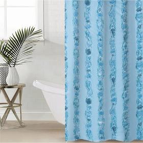 Штора для ванной комнаты «Ракушки», 180×180 см, полиэтилен, цвет голубой Ош