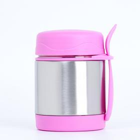 """Термос """"Вкусный обед"""", 350 мл, (+ вилка) сохраняет тепло 6 ч, 9х8х11 см, розовый"""