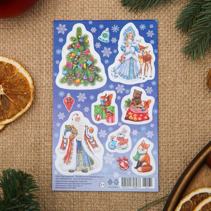 Наклейки Новогодние Дед Мороз, Снегурочка, 9,8x15,9 см