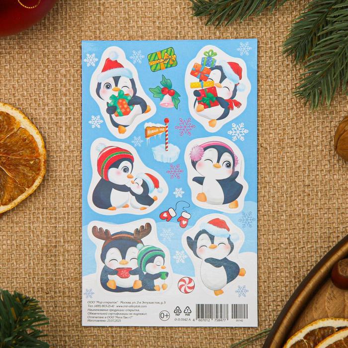 Наклейки Новогодние пингвин и пингвиненок, 9,8x15,9 см