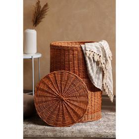Корзина для белья, круглая, плетёная из лозы, D=50 см, H=75 см