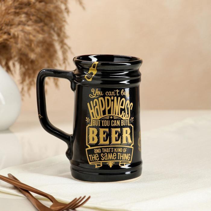 """Бокал """"Beer"""", прямой, чёрный, 0.6 л"""