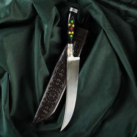 Нож Пчак Шархон - эбонит, ёрма, гарда, навершие мельхиор, 17 см