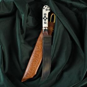 """Нож Пчак Шархон - кость, ёрма сапожок """"Мехенди"""" гарда олово, гравировка с садафом, 17 см"""