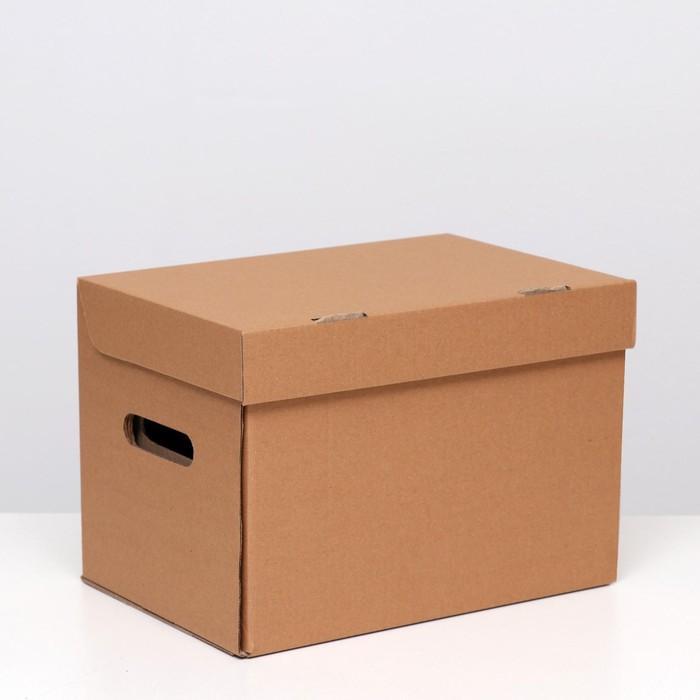 """Коробка(ящик) для хранения """"А4"""", бурая, 32,5 x 23,5 x 23,5"""